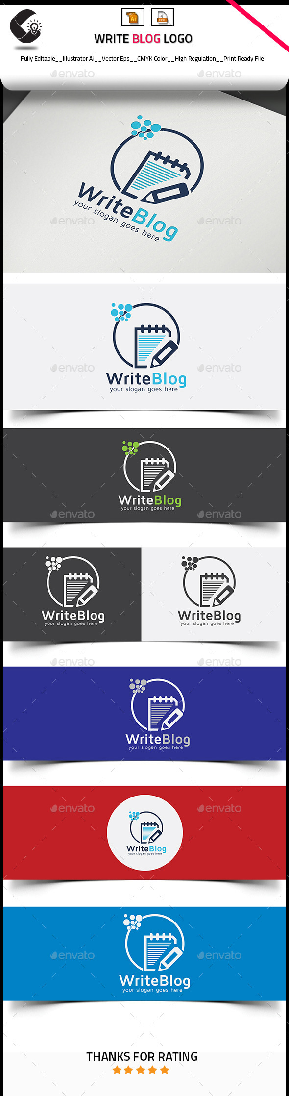 GraphicRiver Write Blog Paper Pencil Logo 10824071