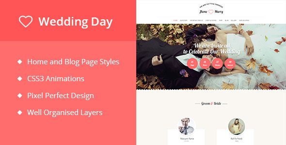ThemeForest Wedding Day- Responsive Wedding Event Template 10825020