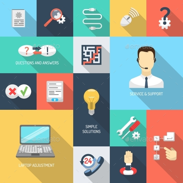 GraphicRiver Support Icons Flat 10826025