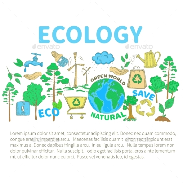 GraphicRiver Doodles Ecology Set 10826035