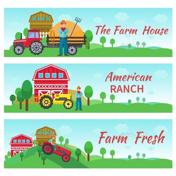 GraphicRiver Tractor Driver Flat Banners 10826040