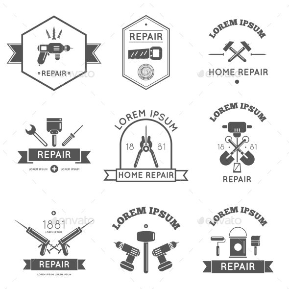 GraphicRiver Home Repair Tools Labels Flat 10826060