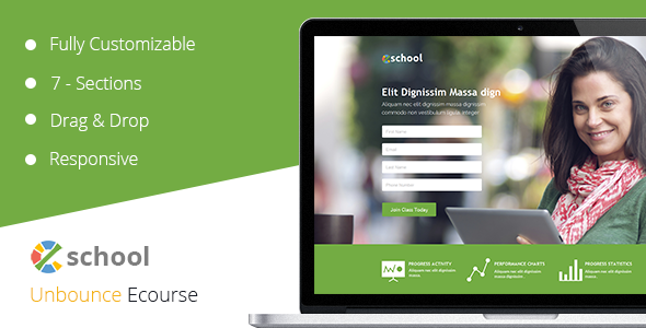 ThemeForest eSchool Unbounce Template 10794898