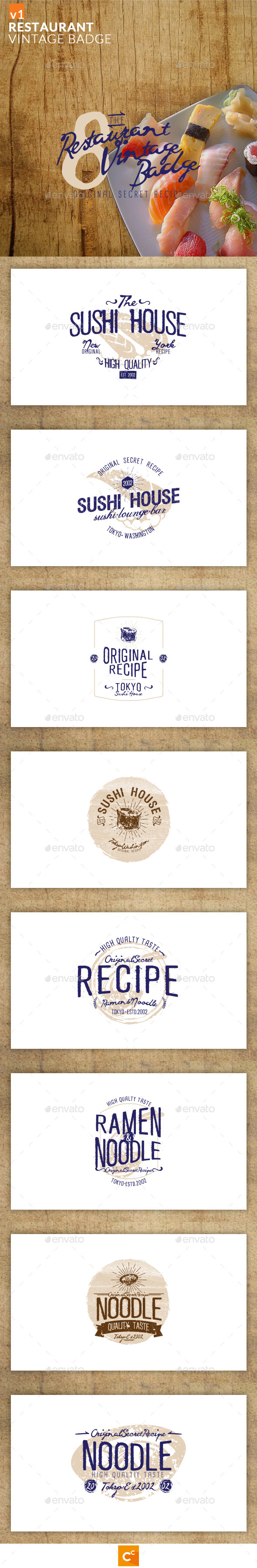 GraphicRiver Restaurant Vintage Badge 10826576