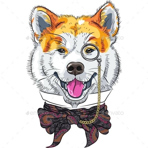 GraphicRiver Hipster Dog Akita Inu 10826582