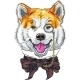 Hipster Dog Akita Inu - GraphicRiver Item for Sale