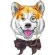 Hipster Dog Akita Inu - GraphicRiver Item for Sale