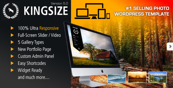 King Size - Fullscreen Background WordPress Theme - Photography Creative