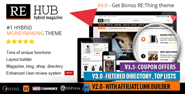 REHub - Directory, Shop, Coupon, Affiliate Theme - Blog / Magazine WordPress