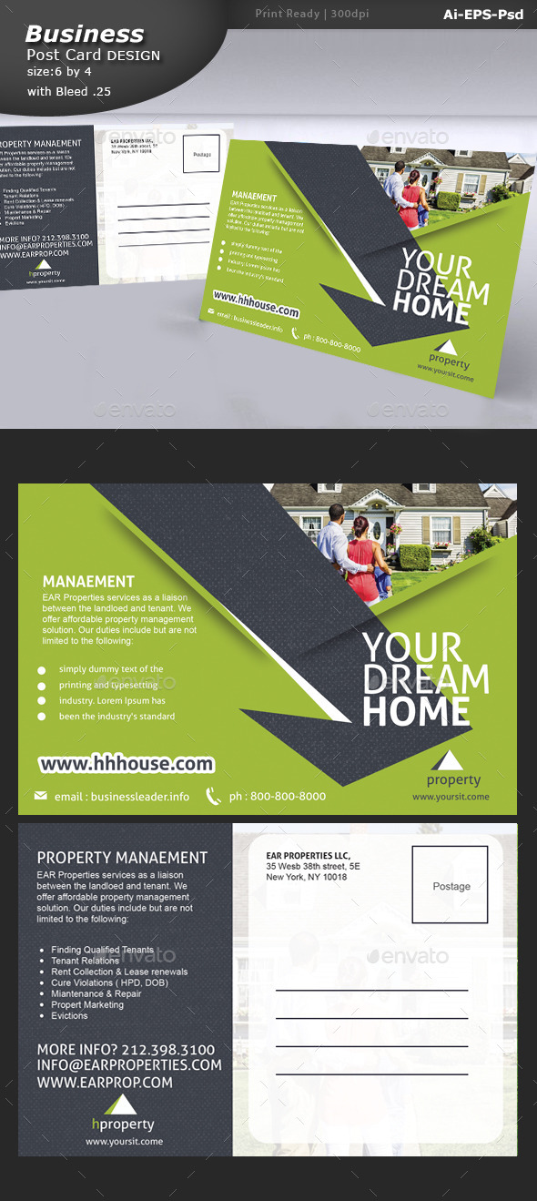 GraphicRiver Real Estate Postcard Design 10826910