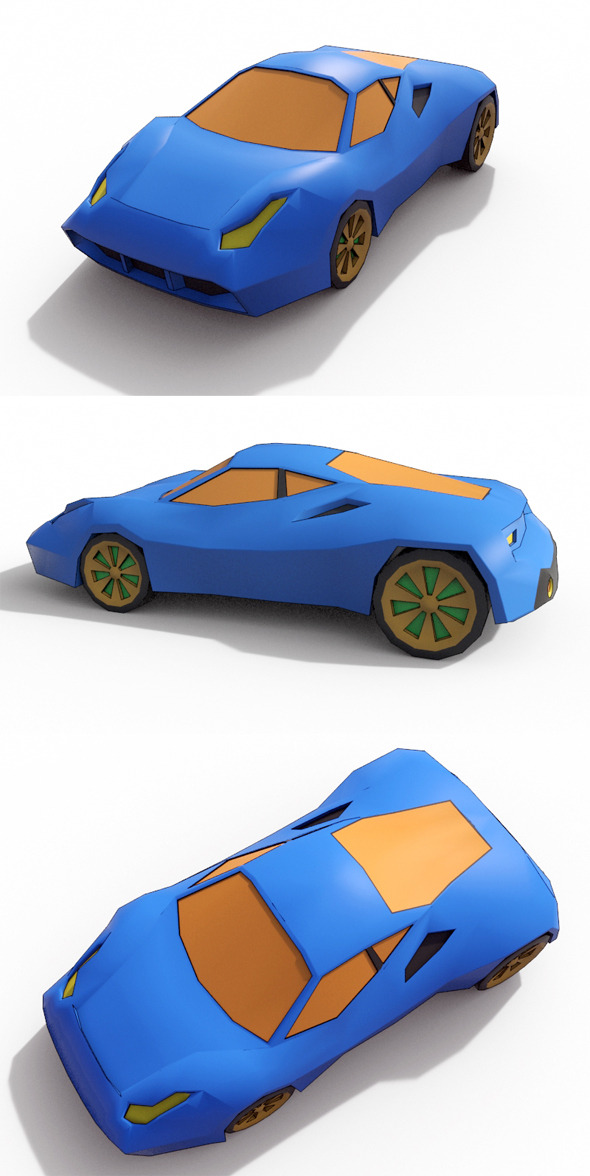 Low Poly Cartoon Car 5 - 3DOcean Item for Sale