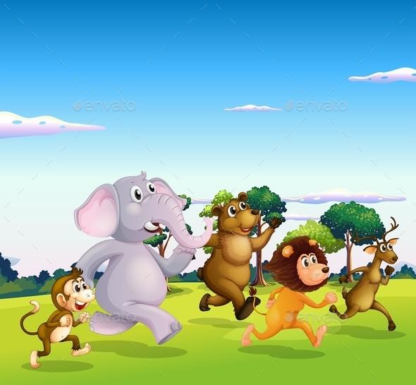 GraphicRiver Wild Animals Running 10828042