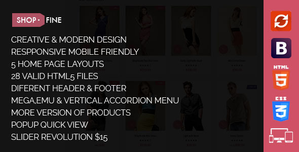 ThemeForest Shopfine Responsive E-Commerce Template 10775405
