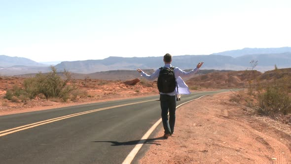 Hitchhiker On A Desert Road 1 Of 2