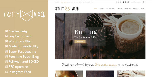 ThemeForest Vixen A Crafty Responsive Wordpress Blog Theme 10832675