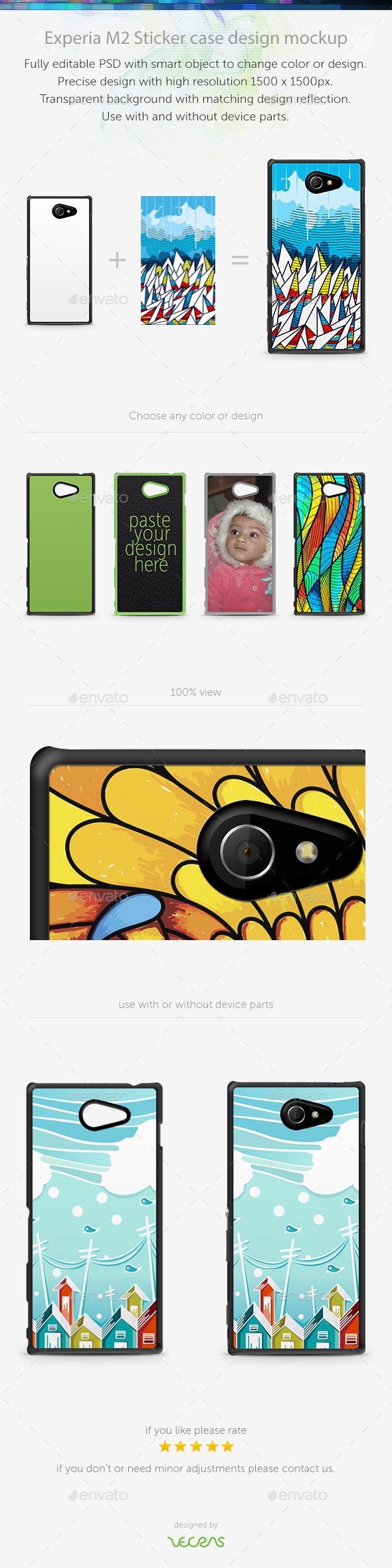 GraphicRiver Experia M2 Sticker Case Design Mockup 10832685