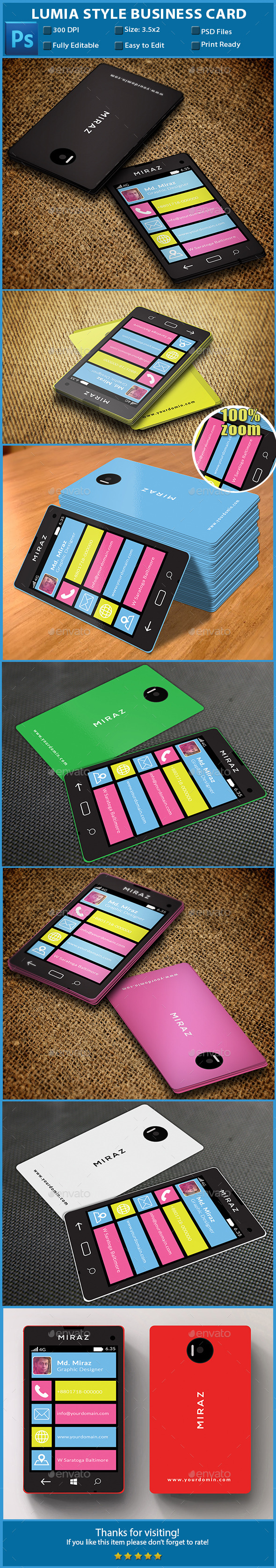 GraphicRiver Lumia Style Business Card 10754959