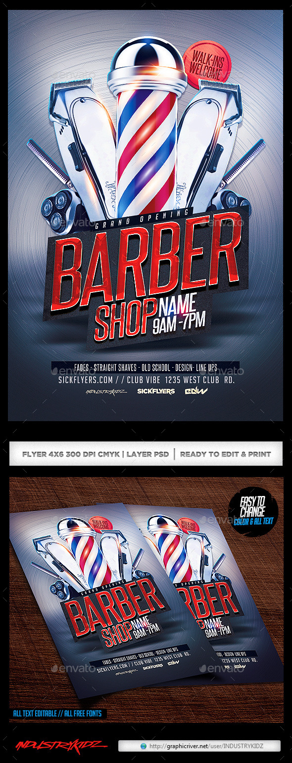GraphicRiver Barbershop Flyer 10833081