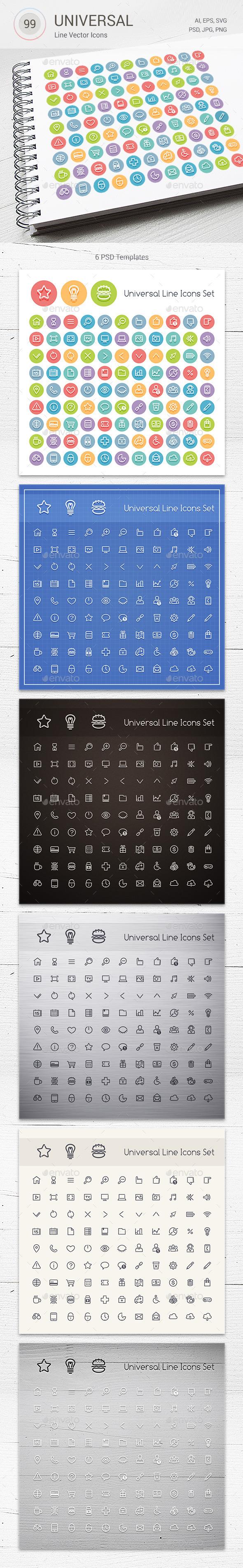 GraphicRiver Set of Line Universal Icons 10801877