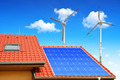 Solar panel on the roof of the house - PhotoDune Item for Sale