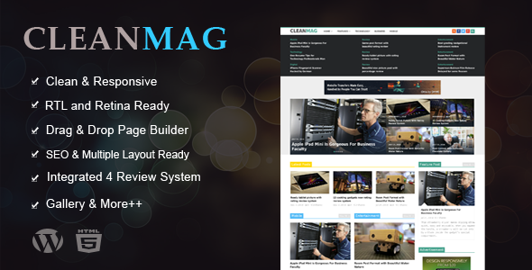 ThemeForest CleanMag Responsive News Magazine Blog Theme 9725138