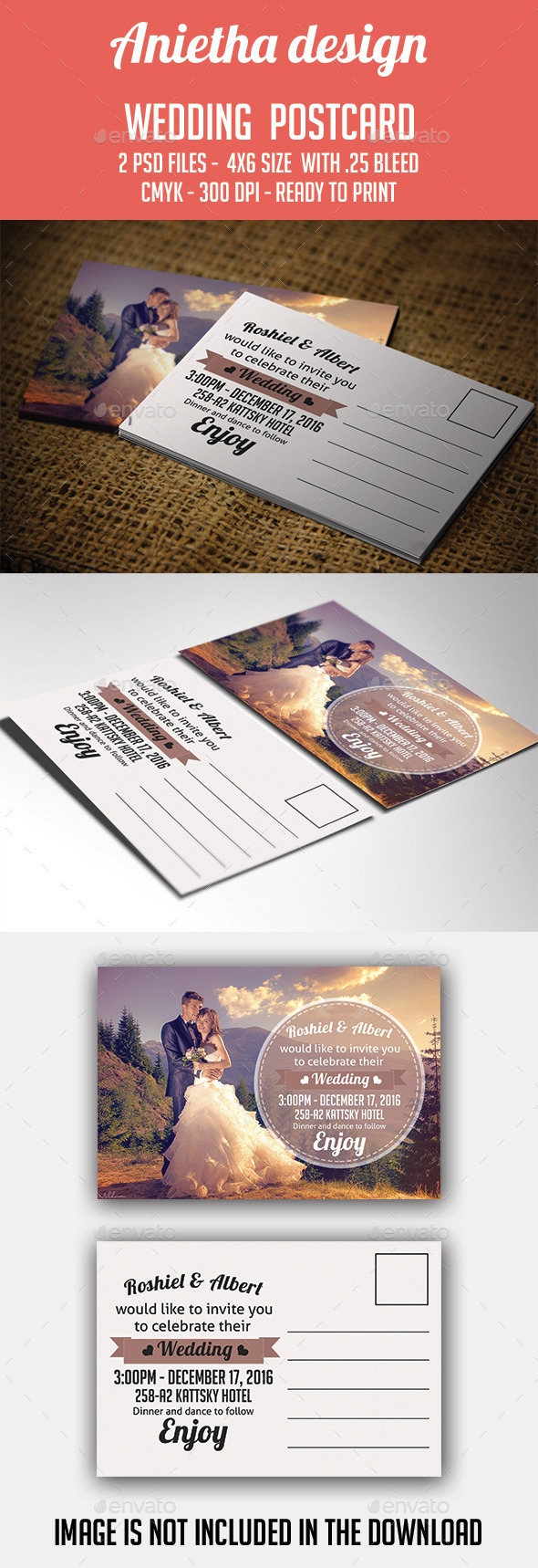 GraphicRiver Wedding Invitation Postcard 10762136