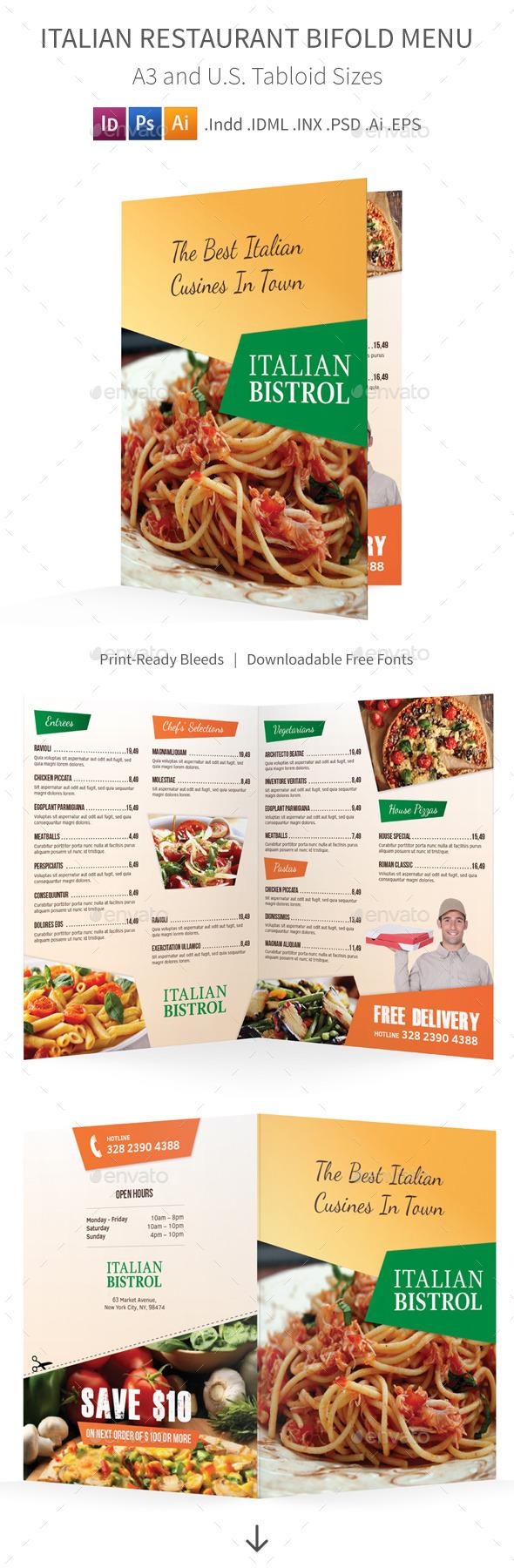 GraphicRiver Italian Restaurant Bifold Halffold Menu 10833358