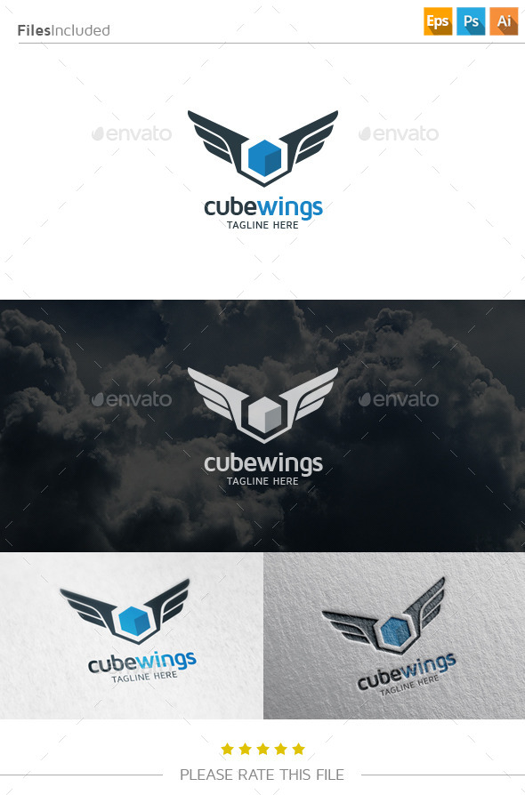 GraphicRiver Cube Wings Logo 10833412
