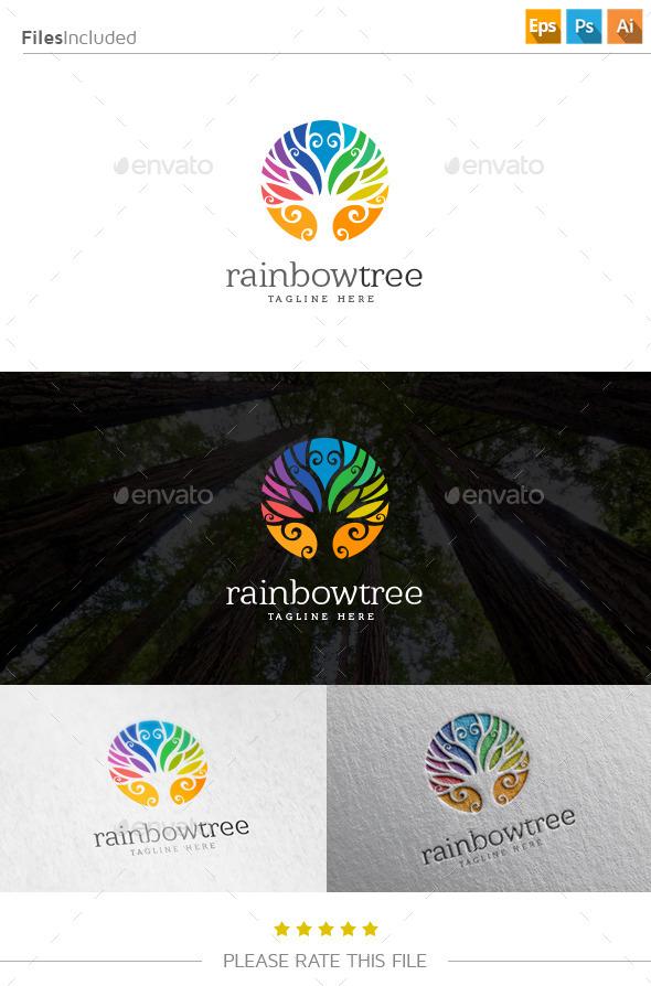 GraphicRiver Rainbow Tree Logo 10833652