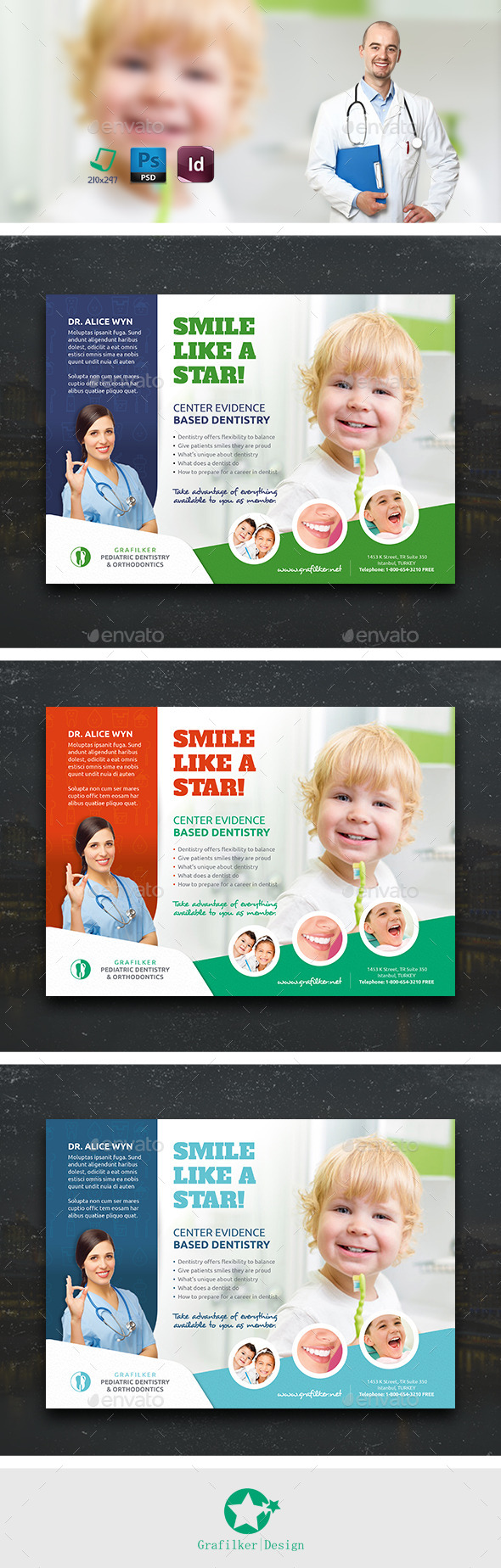 GraphicRiver Kids Dental Flyer Templates 10833823