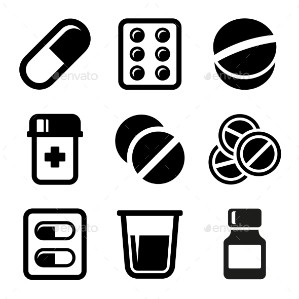 GraphicRiver Pills and Capsules Icons Set 10834083