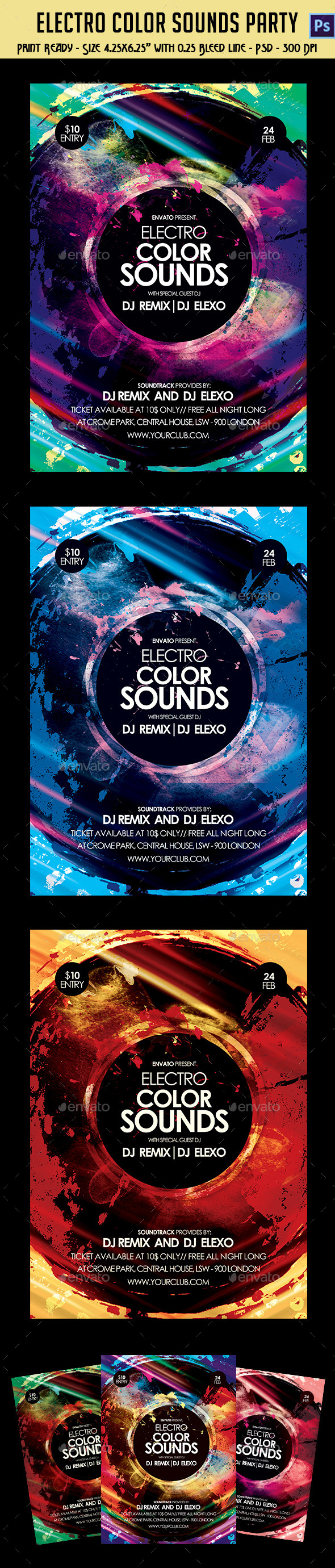 GraphicRiver Electronic City Mix Sounds Party Flyer 10834433
