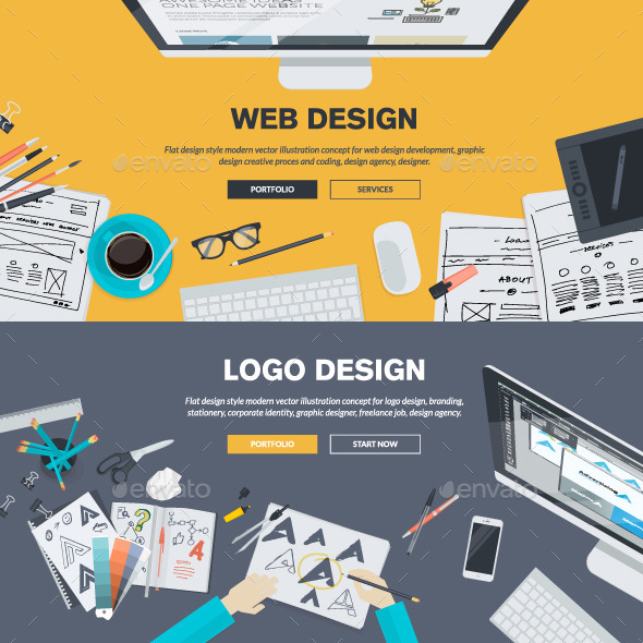 GraphicRiver Flat Design Concepts for Graphic and Web Design 10834874