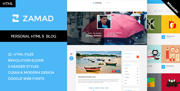 ThemeForest Zamad Personal HTML5 Blog Template 10782100