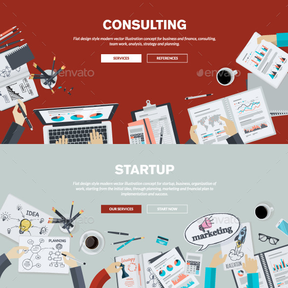 GraphicRiver Flat Design Concepts on Business Topic 10834928