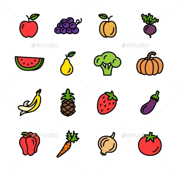 GraphicRiver Flat Line Vegetables Icons Vector 10835582
