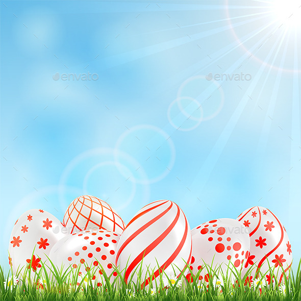 GraphicRiver Red Easter Eggs in the Grass 10836553