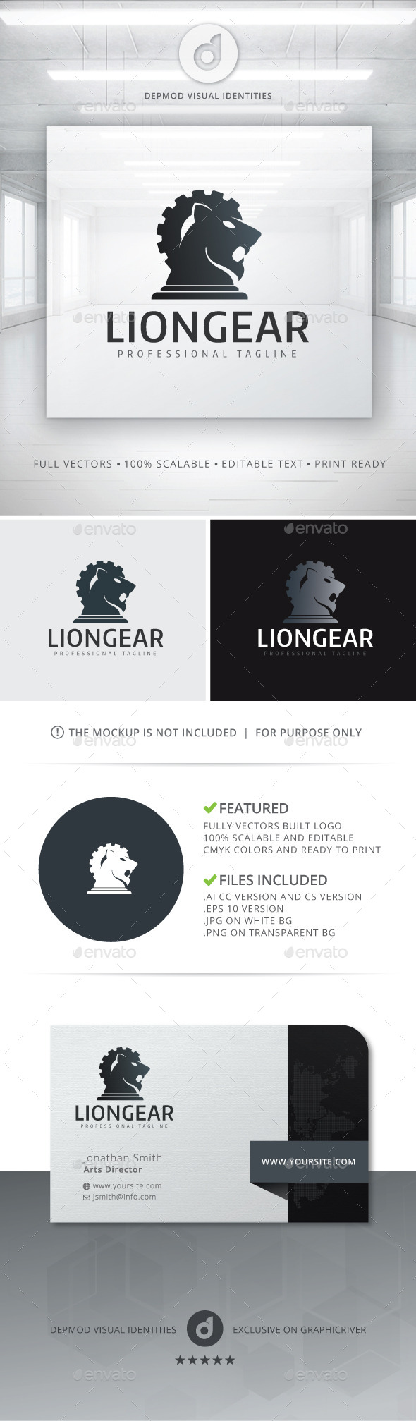 GraphicRiver Lion Gear Logo 10839232