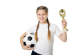 Little girl holding football ball and trophy isolated - PhotoDune Item for Sale
