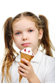 Joyful child girl eats ice- cream isolated - PhotoDune Item for Sale
