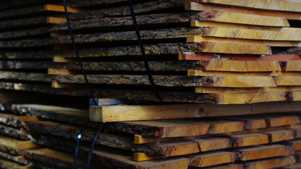 Shot of Lumber Stack in Mill Warehouse 2