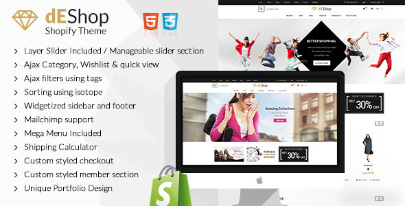 ThemeForest dEShop Responsive Shopify Store Template 10839656
