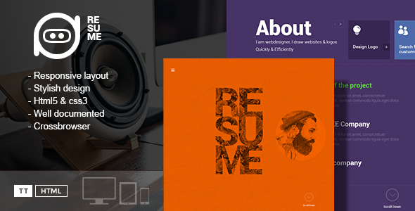 ThemeForest Resume One-Page Creative CV Template 10839800