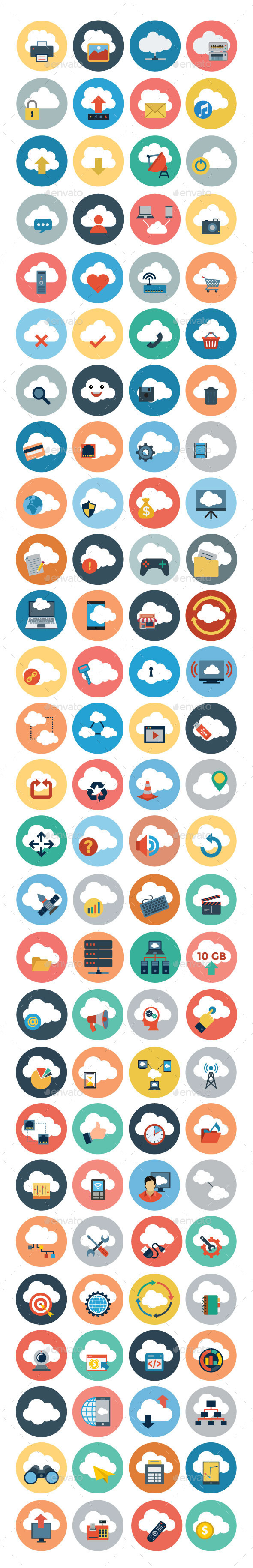 GraphicRiver 100& Cloud Computing Flat Icons 10839871
