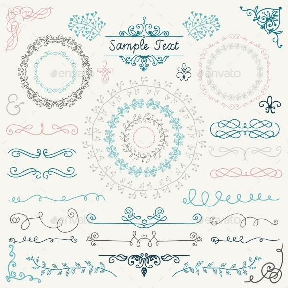 GraphicRiver Colorful Hand Drawn Design Elements 10839972