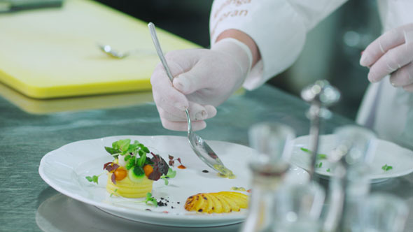 VideoHive Professional Chef is Garnishing Luxury Dish 10840169