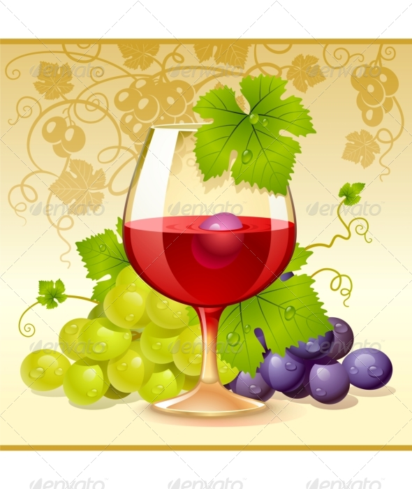 Vector wine glass and grape