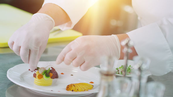 VideoHive Professional Chef is Garnishing Luxury Dish 10840361