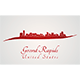 Grand Rapids Skyline in Red - GraphicRiver Item for Sale