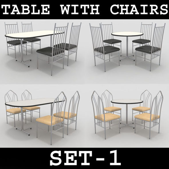 Table with Chairs Set-1 - 3DOcean Item for Sale